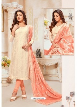 Off White And Peach Modal Silk Churidar Suit