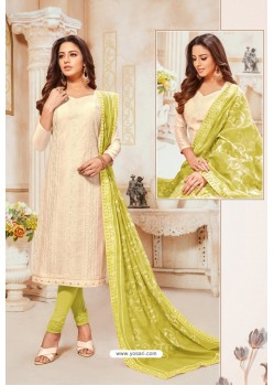 Off White And Green Modal Silk Churidar Suit