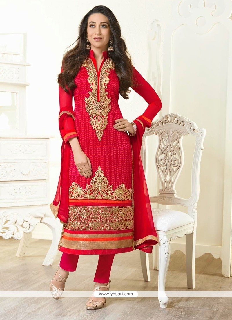 Karisham Kapoor Red Zari Work Churidar Salwar Suit