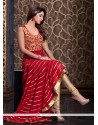 Peppy Net Red Resham Work Floor Length Anarkali Suit