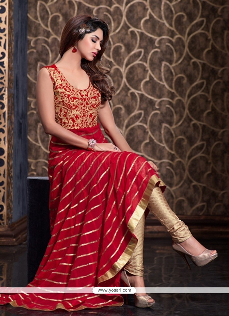 Peppy Net Red Resham Work Floor Length Anarkali Suit