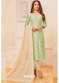 Sea Green And Cream Jacquard Silk Churidar Suit