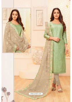 Sea Green And Taupe Modal Silk Designer Churidar Suit