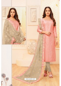 Pink And Taupe Modal Silk Designer Churidar Suit