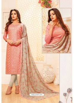Peach And Light Beige Satin Silk Designer Churidar Suit