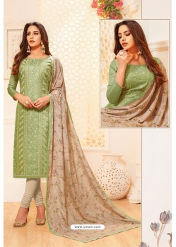 Green And Light Beige Satin Silk Designer Churidar Suit