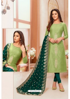 Green And Teal Modal Silk Designer Churidar Suit