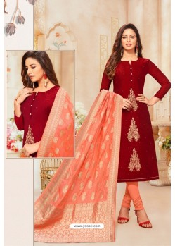 Maroon And Orange Modal Silk Designer Churidar Suit