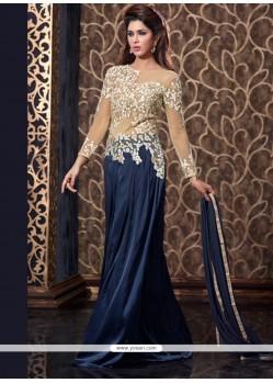 Praiseworthy Navy Blue Floor Length Anarkali Suit
