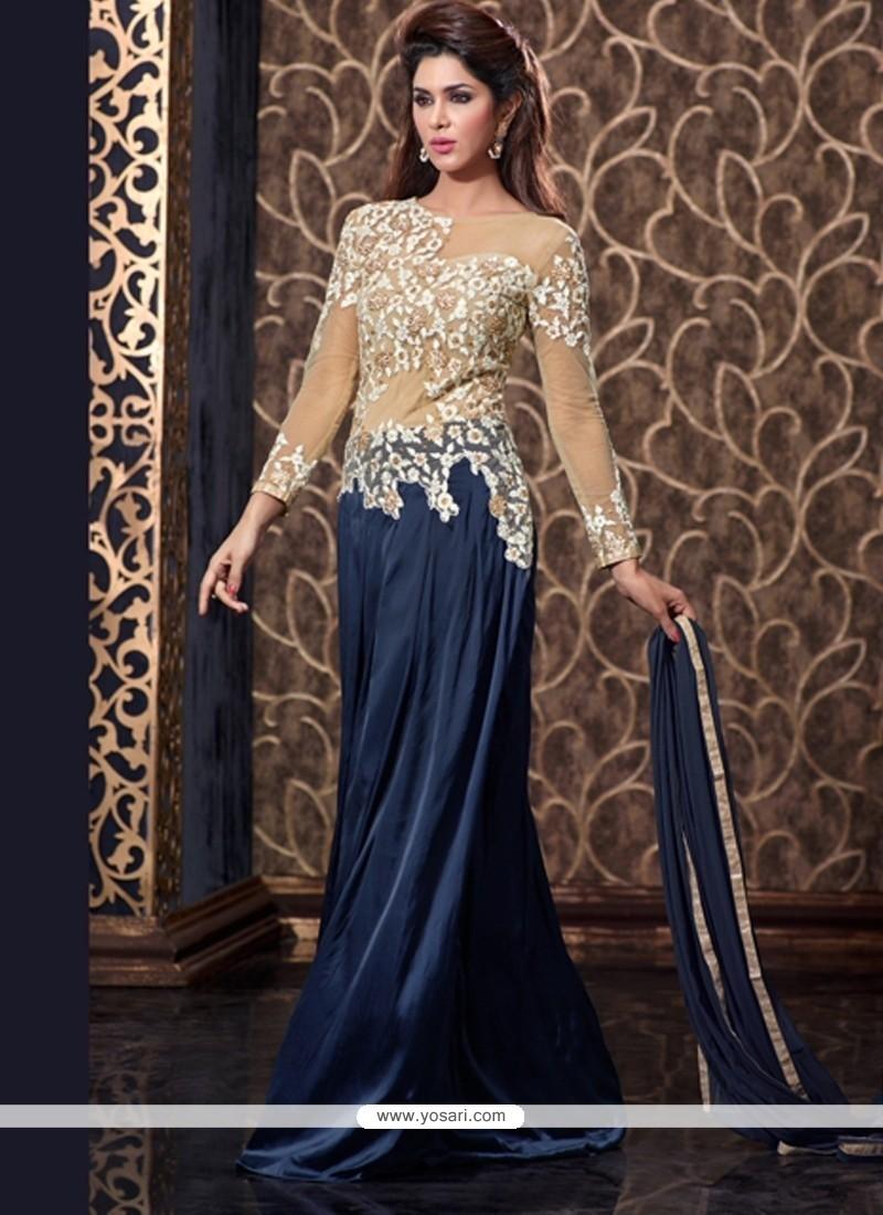 Shop online praiseworthy navy blue floor length anarkali suit for Floor length suits
