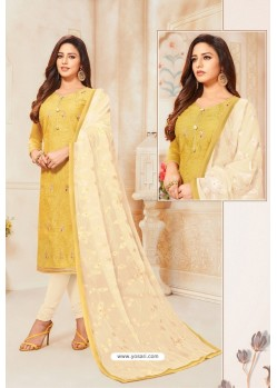 Yellow And Off White Modal Silk Designer Churidar Suit
