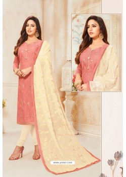 Peach And Off White Modal Silk Designer Churidar Suit