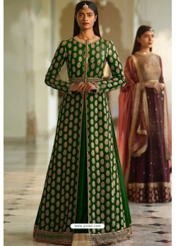Dark Green Designer Heavy Silk Lehenga Style Suit