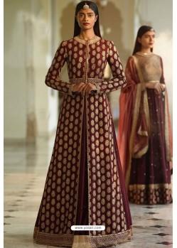 Maroon Designer Heavy Silk Lehenga Style Suit