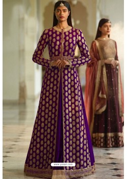 Purple Designer Heavy Silk Lehenga Style Suit