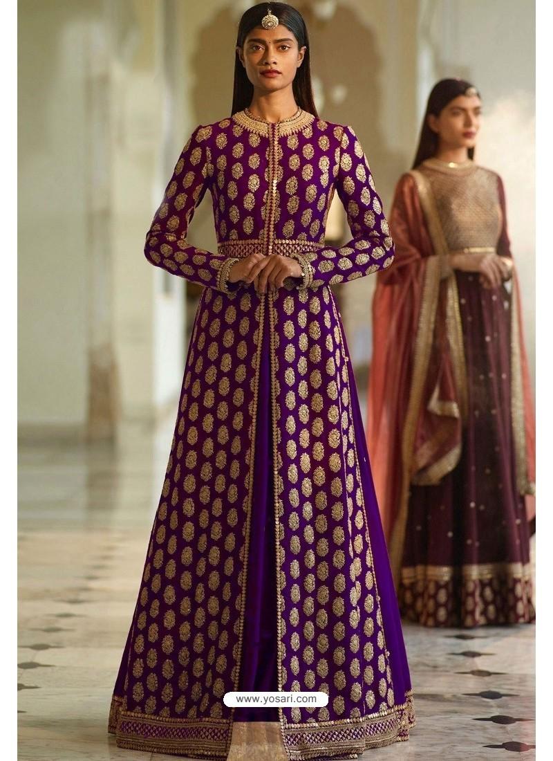 Purple Designer Heavy Silk Lehenga Style Suit