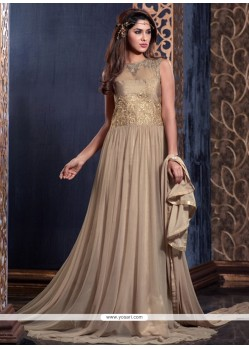 Riveting Net Beige Floor Length Anarkali Suit