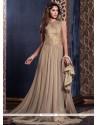 Riveting Net Beige Floor Length Anarkali Suit