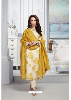 Cream Heavy Chanderi Silk Designer Straight Suit