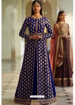 Royal Blue Designer Heavy Silk Lehenga Style Suit