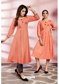 Peach Designer Party Wear Readymade Kurti