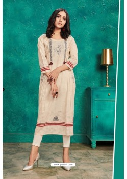 Off White Designer Party Wear Readymade Kurti