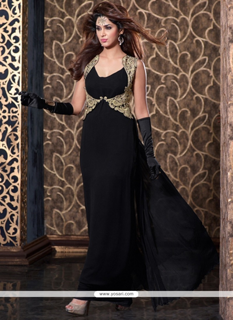 Sterling Black Zari Work Net Anarkali Salwar Suit
