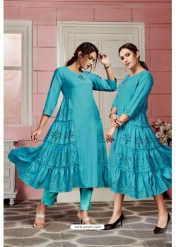 Turquoise Blue Designer Party Wear Readymade Kurti