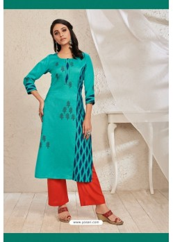 Teal Rayon Flex Party Wear Readymade Kurti