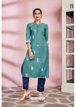 Teal Rayon Designer Party Wear Readymade Kurti
