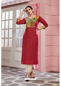 Red Rayon Party Wear Readymade Kurti