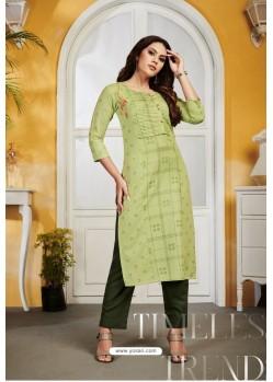 Green Rayon Party Wear Readymade Kurti
