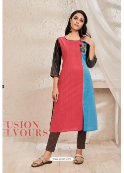 Multi Colour Cotton Party Wear Readymade Kurti