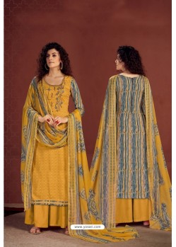 Mustard Yellow Party Wear Readymade Palazzo Salwar Suit