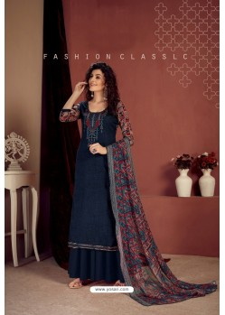 Navy Blue Party Wear Readymade Palazzo Salwar Suit