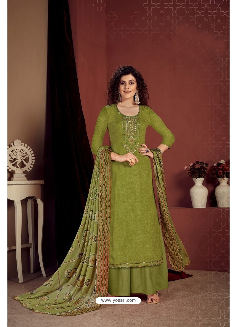 Forest Green Party Wear Readymade Palazzo Salwar Suit