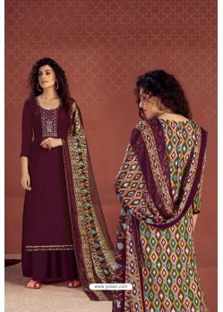 Purple Party Wear Readymade Palazzo Salwar Suit