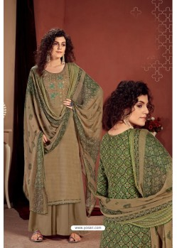 Beige Party Wear Readymade Palazzo Salwar Suit