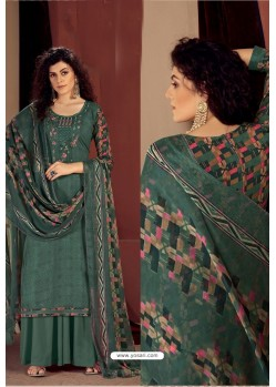 Grayish Green Party Wear Readymade Palazzo Salwar Suit