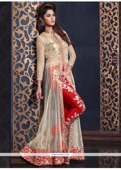 Superb Cream And Red Designer Salwar Kameez