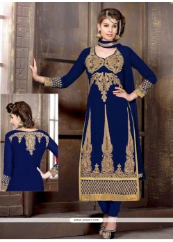 Intrinsic Blue Georgette Churidar Salwar Suit