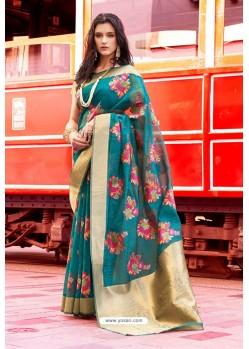 Teal Pure Taspa Silk Designer Saree