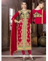 Gorgonize Resham Work Hot Pink Georgette Churidar Salwar Kameez