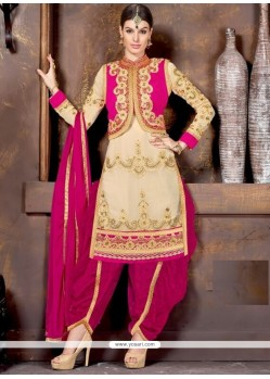 Glamorous Cream And Hot Pink Lace Work Designer Patiala Salwar Kameez