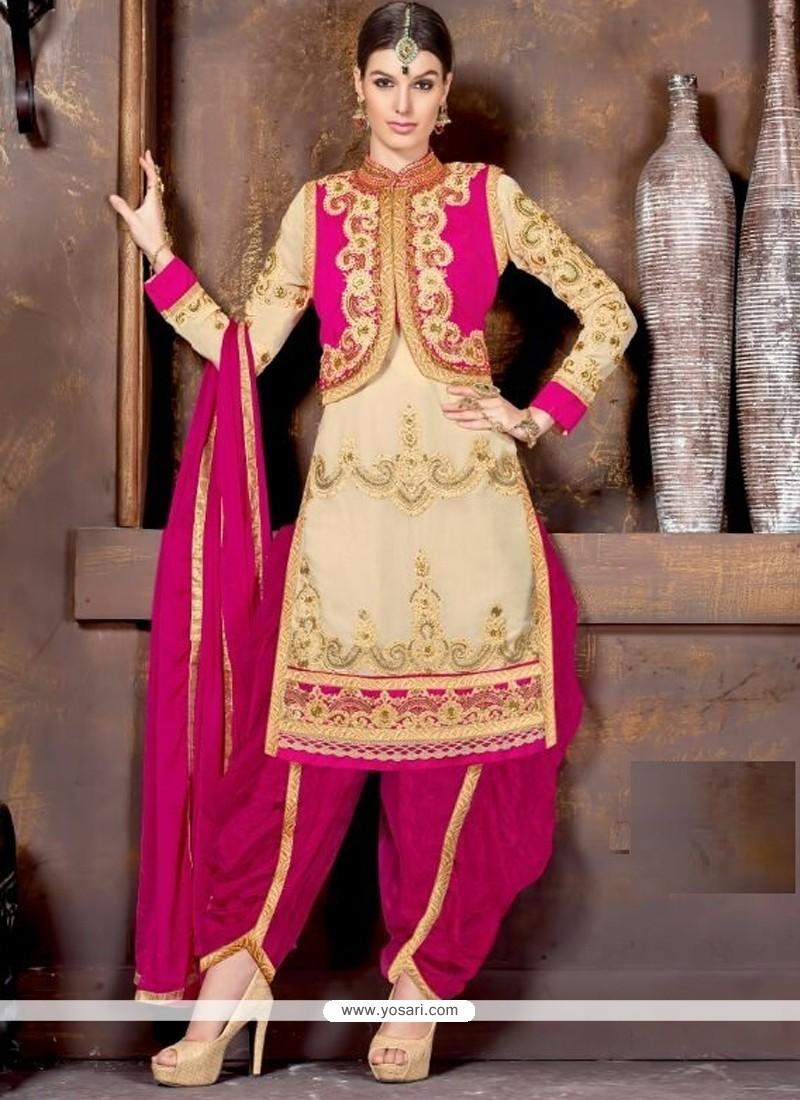 Glamorous Cream And Hot Pink Lace Work Designer Patiala Salwar Kameez