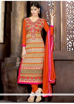 Modern Georgette Orange Churidar Salwar Kameez