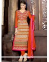 Modern Georgette Orange Churidar Salwar Kameez