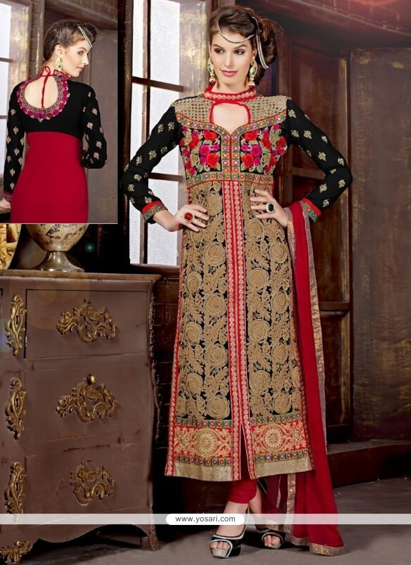 Mystical Georgette Zari Work Churidar Designer Suit