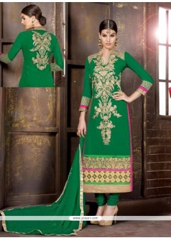 Unique Georgette Green Churidar Salwar Suit