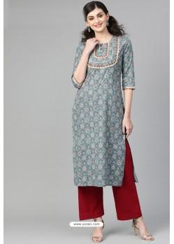 Multi Colour Casual Wear Cambric Cotton Kurti